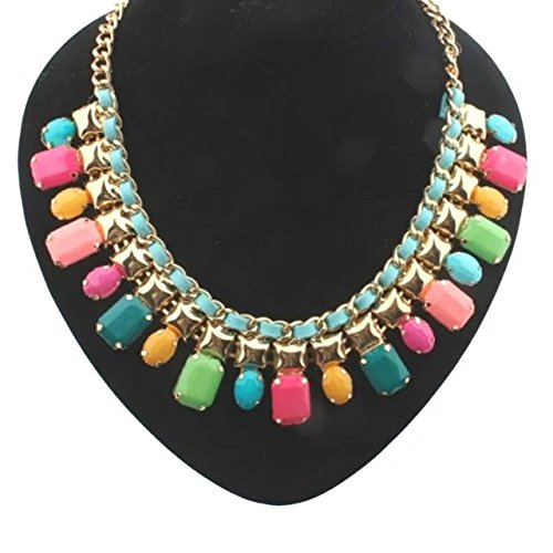 EYX Formula European style Fashion Jewelry Crystal Women Necklace Clavicle Chain Choker,Colorful Stones Crystal necklace Chain for dressing with your (Best Cross Dressing Costumes)