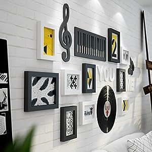 Foto de madera maciza Marco de la pared Combinación Salón Fondo Dormitorio Pared Elementos de música Decoración (precio: 83,99€)