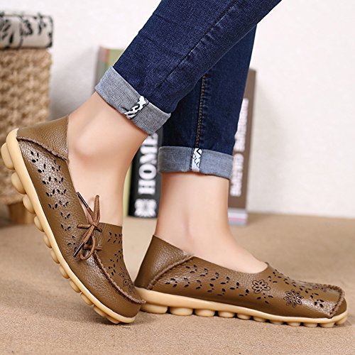 Indoor Moccasin Fantiny Genuine On Loafers Slip Slippers Flat 2 Driving Women's khaki Leather Casual Shoes 8qTBnU8xw
