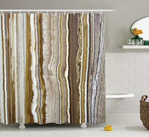 Ambesonne Apartment Decor Shower Curtain by, Onyx Marble Rock Themed Vertical Lines and Blurry Stripes in Earth Color, Fabric Bathroom Decor Set with Hooks, 84 Inches Extra Long, Mustard Brown - Onyx Vertical Line
