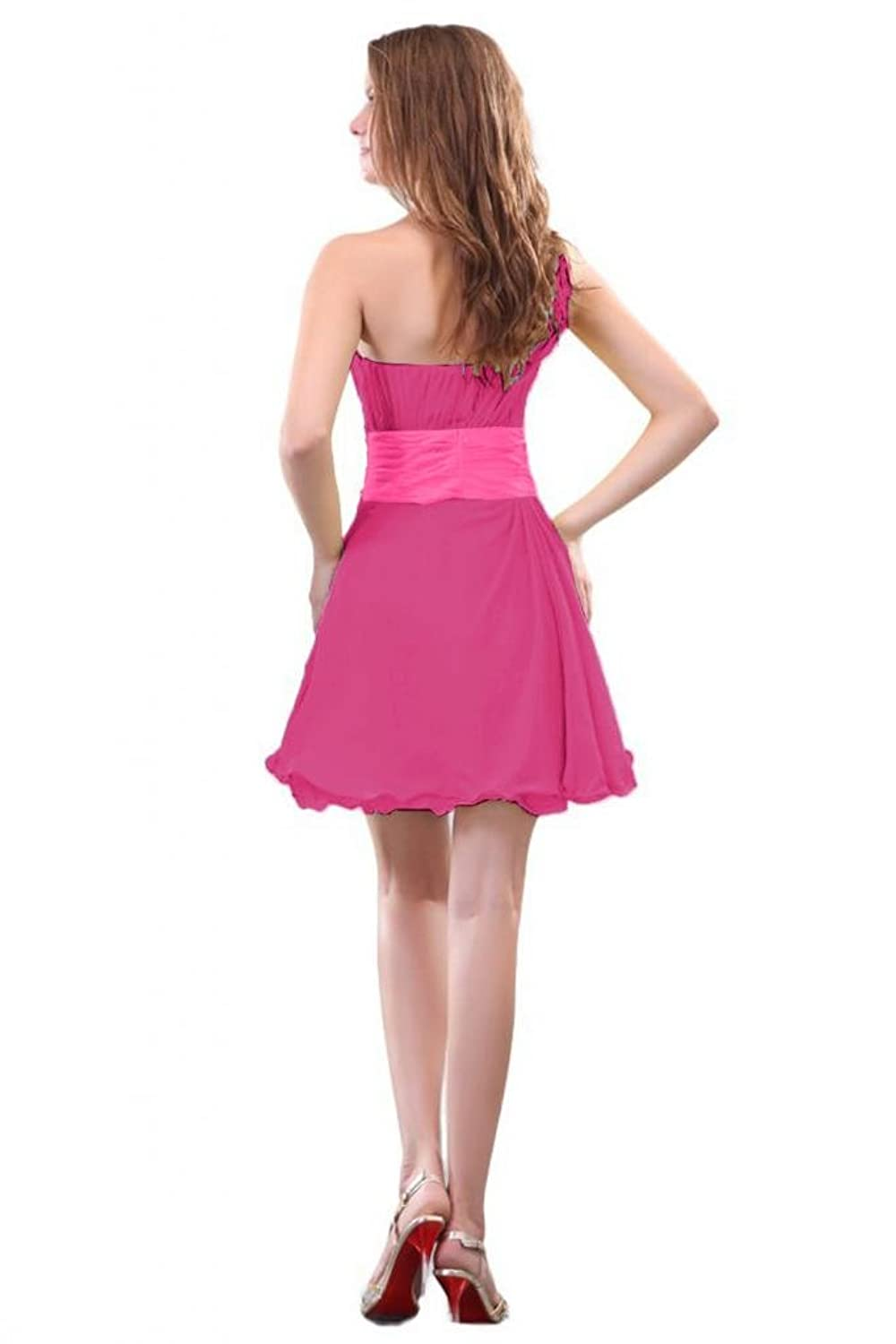 Sunvary New A Line Short Homecoming Dresses One-Shoudler Chiffon Cocktail Party Dresses