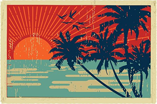 (Tropical Island Palm Trees Sunset Vintage Postcard Poster 36x24 inch)