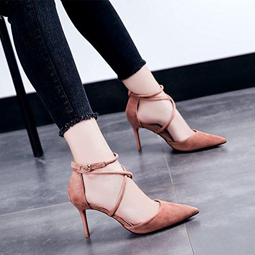De Sandalias Transversales Zapatos Negro Los Baotou Verano Las Rosa Alto Zapatos GAOLIM Mujer Tiras Finos Con Talón De z8CqX