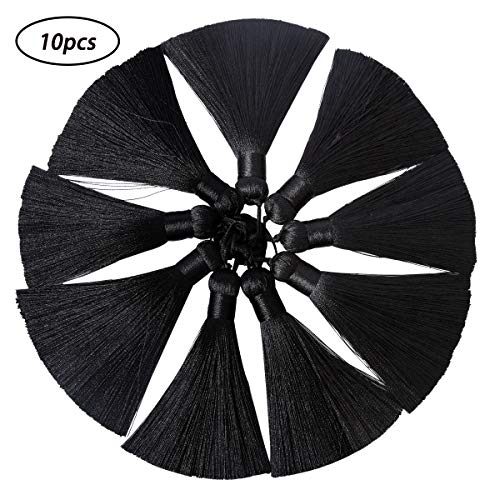 Lulonpon Ice Fringe Tassels,10 Pcs16cm/6.3in Wrinkle-Resistant Vertical Hanging Ears Bookmarks Clothing Hairpins Handcrafted Fur Jewelry DIY Project(10pcs-6.3in) (Black) (Material Blue Fur)
