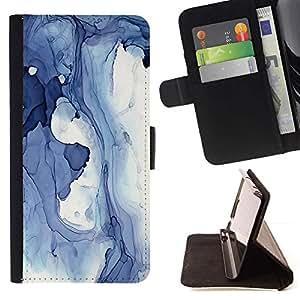 For Samsung Galaxy A5 ( A5000 ) 2014 Version Case , Abstracto azul Invierno Hielo Lago Líquido Agua- la tarjeta de Crédito Slots PU Funda de cuero Monedero caso cubierta de piel