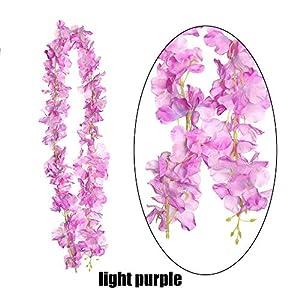 Coolso 120cm Artificial Flower Wall Backdrop Long Silk Hydrangea Wedding Floral Garland Wreath Rattan Flowers Wisteria Vine(Light Purple) 98