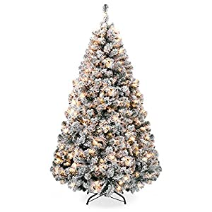 Best Choice Products Pre-Lit Snow Flocked Christmas Tree 11