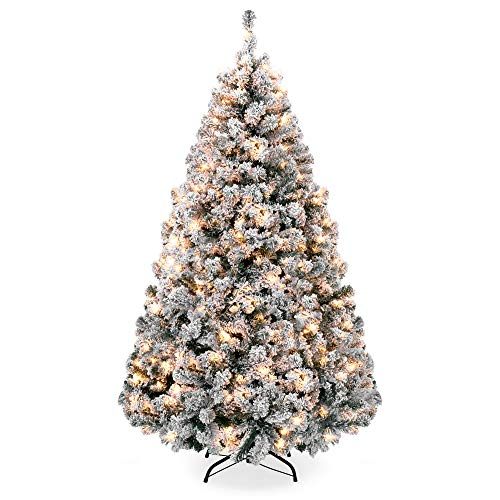 Best Choice Products 6ft Premium Pre-Lit Snow Flocked Hinged Artificial Christmas Pine Tree Festive Holiday Decor w/ 250 Warm White Lights