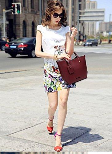 Korean-style-Women-Lady-Leather-Satchel-Handbag-Tote-Messenger-Crossbody-Shoulder-Bag-Maroon
