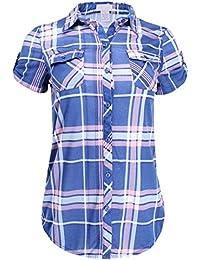 Women's Short Sleeve Plaid Button Down Shirt Knit Top