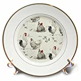 3dRose RinaPiro - Pattern - Rooster Chicken Country Farm. - 8 inch Porcelain Plate (cp_268730_1)