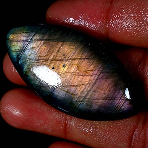 Qualitygems 108.1CT 100% Natural Purple Flashing Labradorite Marquis CABOCHON Loose - Labradorite Marquis
