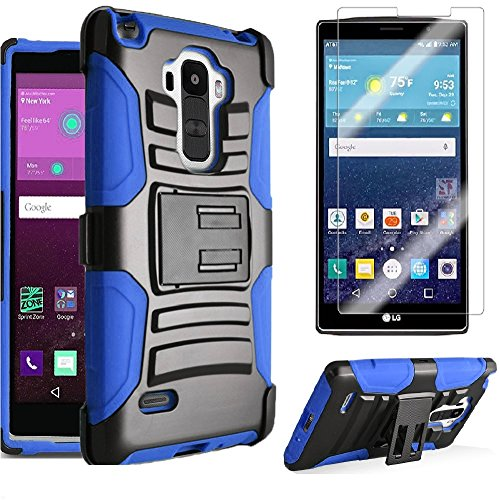 LG G Vista 2 H740 Heavy Duty Case, Shock/ Impact Protection Dual Layer Armor with Kickstand Belt Clip Holster + Premium LCD Screen Protector Combo [SlickGearsTM] (Blue) (Combo Premium Screen Protector)