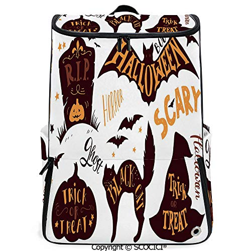 SCOCICI Outdoor Travel Backpack,Halloween Symbols Trick or Treat Bat Tombstone Candy Scary Decorative,Dark Brown Orange,with Sponge Padded Shoulder Straps