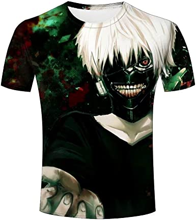 Anime Tokyo Ghoul Ken Kaneki 3D Impreso Camiseta de Manga Corta para Hombre: Amazon.es: Ropa y accesorios