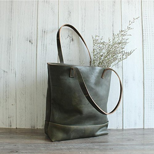 Handmade Women Fashion Natural Green Leather Tote Bag Shoulder Bag Shopper Bag by Jellybean Gorilla