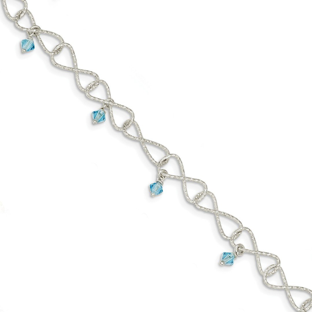 ICE CARATS 925 Sterling Silver Textured Blue Aquamarine Colored Glass Bead Bracelet 7.50 Inch Fancy Fine Jewelry Ideal Gifts For Women Gift Set From Heart