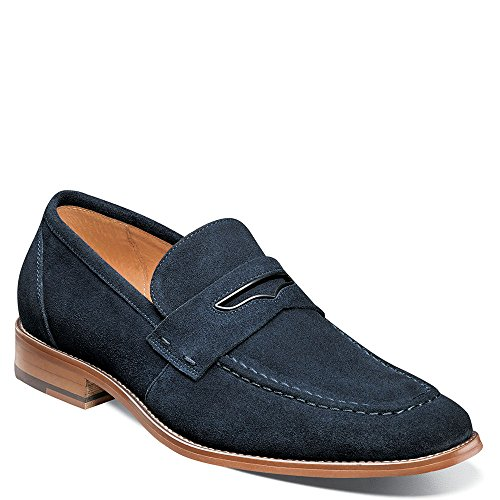 Penny Moc - Stacy Adams Men's Colfax Moc-Toe Slip Penny Loafer, Navy Suede, 12 M US