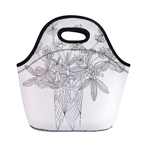 - Semtomn Lunch Bags Blossom Bloom Ink of Clover Flowers in Glass Vase Neoprene Lunch Bag Lunchbox Tote Bag Portable Picnic Bag Cooler Bag