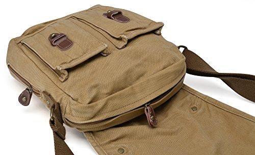 Gootium lona de la vendimia de hombro clásicos de los hombres / bolso de hombro, 25 cm, de color caqui Caqui