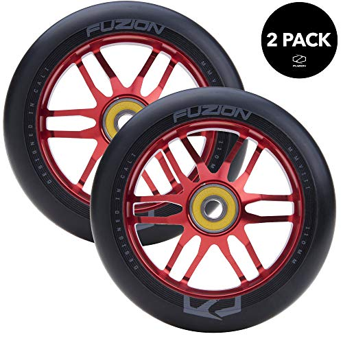 Fuzion Pro Scooter Wheels 110mm Hollow Core Stunt Scooter Sig Wheels with ABEC - 9 Bearings Pair (Dose Black/Red)