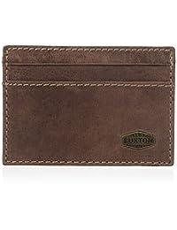 Buxton Men's Expedition RFID Blocking Leather Slim Minimalist Front Pocket Get-away Wallet, Walnut, One Size