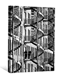 JP London DDCNV1 X 94927 Ready to Hang Feature Wall Art Smoking Break Black White Spiral Stair Steel Building 2'' Thick Heavyweight Gallery Wrap Canvas 60'' x 40''