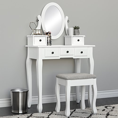 Best Choice Products Bedroom Makeup Cosmetic Beauty Vanity Hair Dressing Table Set w/Adjustable Oval Mirror, Padded Stool Seat, 5 Drawer Storage Organizers - White