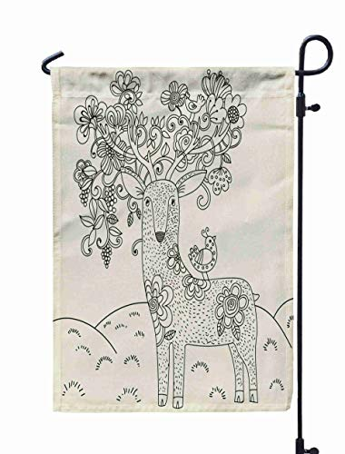 Jacrane Welcome Small Garden Flag 12X18 Inches Isolated Deer Big Antlers Flowers Birds The Horns Coloring Pages Double-Sided Seasonal House Yard Flags Decorative]()