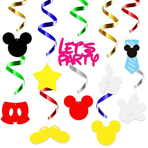 BeYumi Mickey Birthday Party Hanging Swirls, First Birthday Party Decorations Supplies, 28pcs Red Yellow Black Baby Shower Party Wall Hanging Decor -