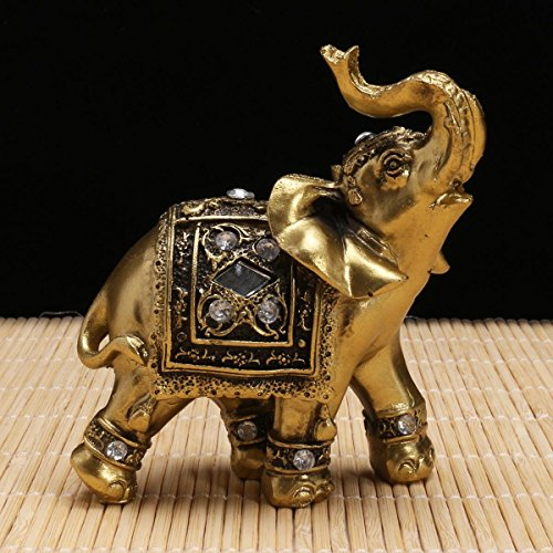 Katoot@ Resin Elephant Statue Decorative Figurines Elephant With Diamond Souvenir Garden Figures Miniature Home Lucky Wealth 9×9cm