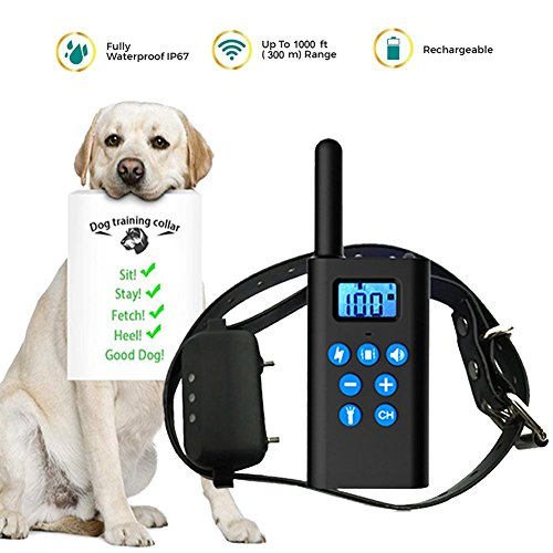 IOKUKI Dog Training Collar with Remote 1000 ft Range,[2018 Upgraded] Rechargeable Waterproof Bark Collar with Beep Vibration Shock,Electric Collar Shock Collar for Small Medium Large Dogs (1 Dog) For Sale