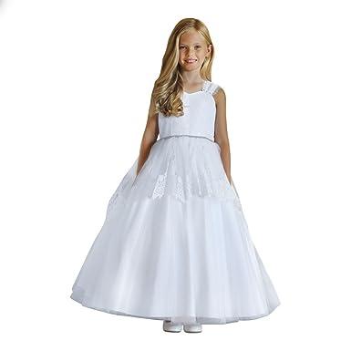 59bcbd4db Amazon.com  Angels Garment Little Girls White Lace Tulle Rhinestone ...
