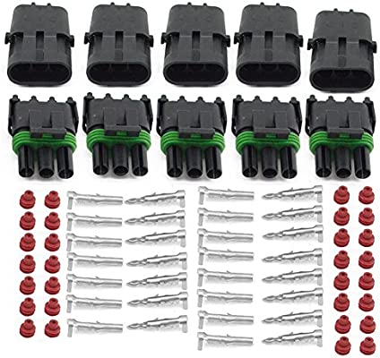 HIFROM 20 Kit of 3 Pin Way Waterproof Electrical Connector 1.5mm Series Terminals Heat Shrink Quick Locking Wire Harness Sockets 20-14 AWG