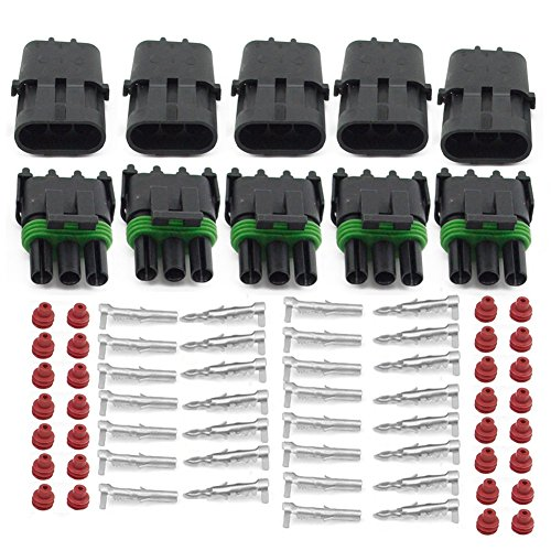 (HIFROM 5 Kit of 3 Pin Way Waterproof Electrical Connector 1.5mm Series Terminals Heat Shrink Quick Locking Wire Harness Sockets 20-14 AWG)