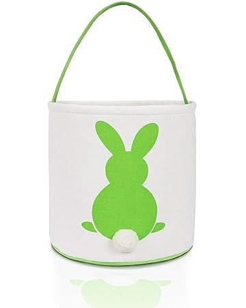 Green Easter Bunny Tote Bag Large Canvas Colored Bags Kids Basket Handbag