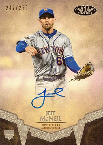 Auto Topps Autograph - 2019 Topps Tier One Baseball #BA-JMC Jeff McNeil Certified Autograph Rookie Card - Only 250 made!