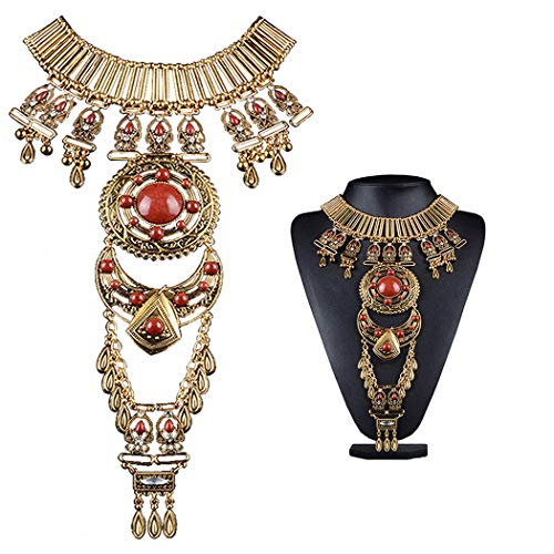 Black Sales Friday Cyber Sales Monday & Deals Week 2018-Bluegoog Womens Vintage Boho Statement Turquoise Necklace Ethnic Tribal Long Beaded Jewelry (Gold)