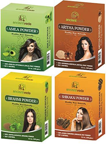 Ancient Veda Amla Powder 100G, Brahmi Powder 100G, Shikakai Powder 100G, Aritha Powder 100G - 1 Complete Hair Care Combo ()