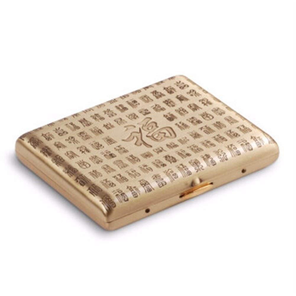 WalledKing Cigarette Case 20 Sticks, Metal Cigarette Holder Creative Men's Cigarette Case, Portable Retro Cigarette Case, Anti-Pressure Moisture-Proof, Ideal Gift for Smokers, Smoker Box