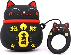 Yonocosta Cute Airpods Case, Airpods 2 Case, Fashion Funny 3D Cartoon Animals Black Lucky Cat Kitty Shaped Full Protection Shockproof Soft Silicone Charging Case Cover with Keychain for Airpods 1&2