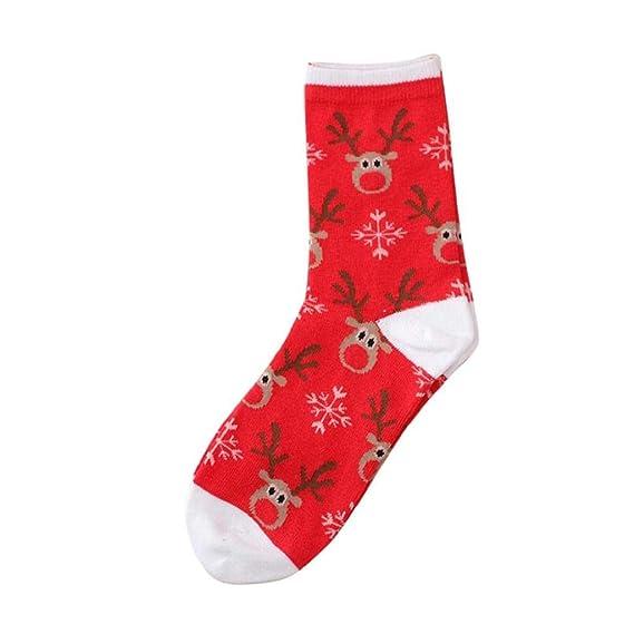 SHOBDW Mujeres Hombres Regalo de Navidad Diversión Novedad Linda Moda Cálido Cómodo Algodón de la raya Calcetines cortos del tobillo Invierno calcetines de ...