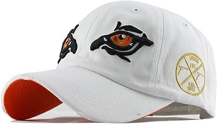 Femme Casquette De Baseball Coton Brodé Réglable Chapeau Nouveau-Blanc /& Orange