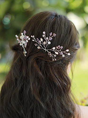Missgrace Bridal Bohemian Purple Vintage Crystal and Rhinestone Hair Pins Wedding Retro Flower Rhinestone Woodland Hair Jewelry Women Hair Accessories for Wedding and Festival Set of 2