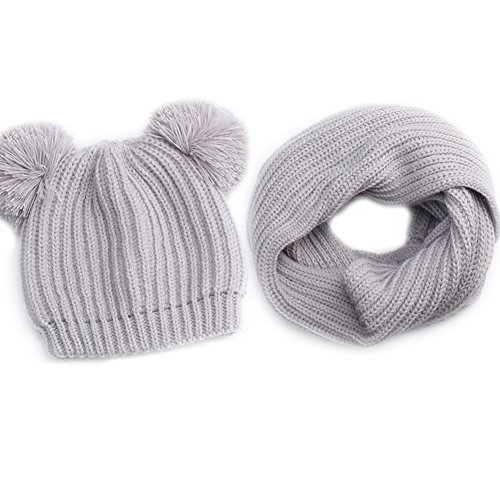 Kids Winter Pom Pom Hat -Soft Warm Beanie Knit Hats Scarf Set For Baby Boys Girls Toddler Children FURTALK Original, grey,Onesize