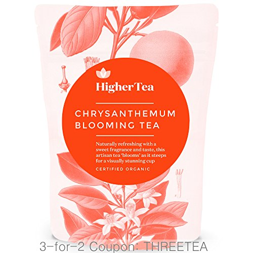 Chrysanthemum Blooming Tea By Higher Tea (8 Blooms) Beautiful Hand Sewn Petals Unfurl To Deliver Delicious, Healthy Flowering Tea. Handmade Artisan Gift Idea for Food and Tea Lovers! (Blooming Tea Tumbler)