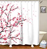 Cheap Pink Shower Curtains LIVILAN Pink Floral Bathroom Curtain Cherry Blossom Shower Curtains Set with 12 Hooks Fabric Bath Curtain Bathroom Decor,White 70.8