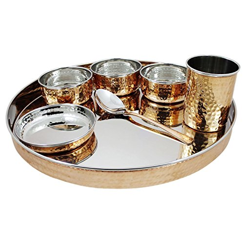 PARIJAT HANDICRAFT Indian Dinnerware Stainless Steel Copper Traditional Dinner Set Of Thali Plate, Bowls, Glass And…