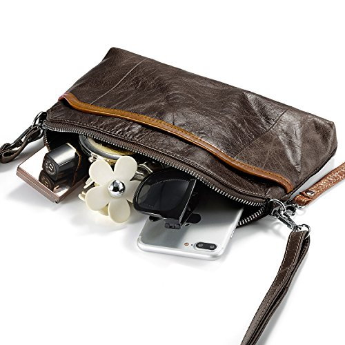 Women Vintage Crossbody Purses Leather Women's Shoulder Smartphone for Bag Travel Coffee Small Lecxci Tan q61PWwEUn