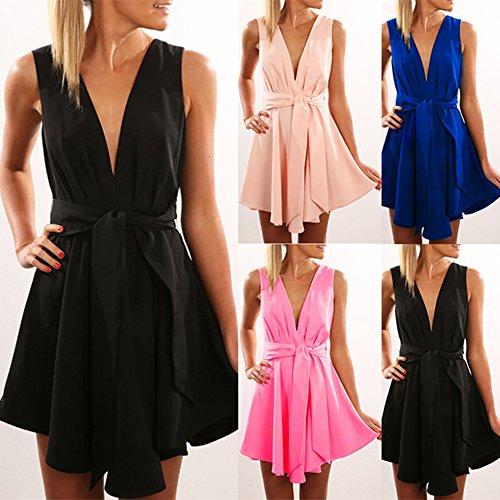 ... Damen Ärmellos Abendkleider Tief V-Ausschnitt Sommerkleid Rückenfrei  Partykleid Mädchen Kleider Frauen Kleid Minikleid Solide 7b467066ab